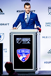 January 11, 2019 - Chicago, IL, U.S. - CHICAGO, IL - JANUARY 11: Callum Montgomery poses for a photo with MLS commissioner Don Garber after being selected as the number four overall pick to FC Dallas in the first round of the MLS SuperDraft on January 11, 2019, at McCormick Place in Chicago, IL. (Photo by Patrick Gorski/Icon Sportswire) (Credit Image: © Patrick Gorski/Icon SMI via ZUMA Press)