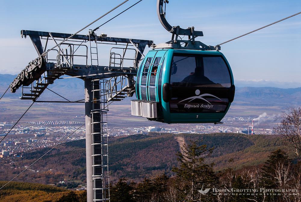 Russia, Sakhalin, Yuzhno-Sakhalinsk. Gorny Vozdukh Ski center is an alpine complex located within Yuzhno-Sakhalinsk city, with a brand new gondola lift.