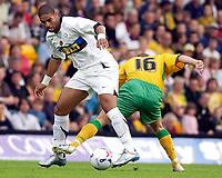 Photo: Daniel Hambury.<br /> Norwich City v Inter Milan. Pre Season Friendly.<br /> 29/07/2005.<br /> Inter's Adriano gets the better of Norwich's Simon Charlton.