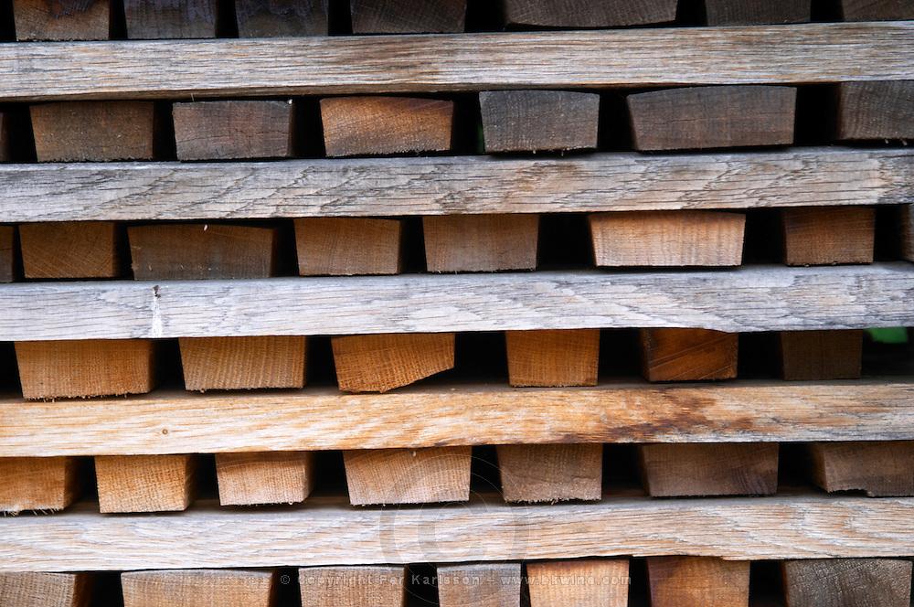storage for staves to make barrels tonnellerie gillet st romain cote de beaune burgundy france