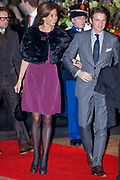 Celebration of the 75th anniversary of the Queen, with ballet of Introdans, for (former) employees and family in Utrecht<br /> <br /> On the photo:  Princess Marilene and Prince Maurits