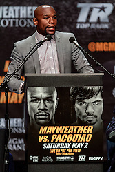 LOS ANGELES, CA - MAR 10 Floyd Mayweather speaks to the press during the Mayweather vs Pacquiao press conference at the Nokia Theater in Los Angeles, California USA to promote their upcoming bout at the MGM Grand in Las Vegas, NV May 2, 2015. This is the ony presser. 2015 Feb 9. Byline, credit, TV usage, web usage or linkback must read SILVEXPHOTO.COM. Failure to byline correctly will incur double the agreed fee. Tel: +1 714 504 6870.