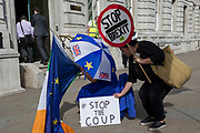 On the day that British Prime Minister Boris Johnson sought to have Parliament suspended by Queen Elizabeth, days after MPs return to work in September - and only a few weeks before the Brexit deadline, pro-EU Remain voters protest outside the Cabinet Office where daily Brexit contingency planning meetings take place, on 28th August 2019, in Whitehall, Westminster, London, England.