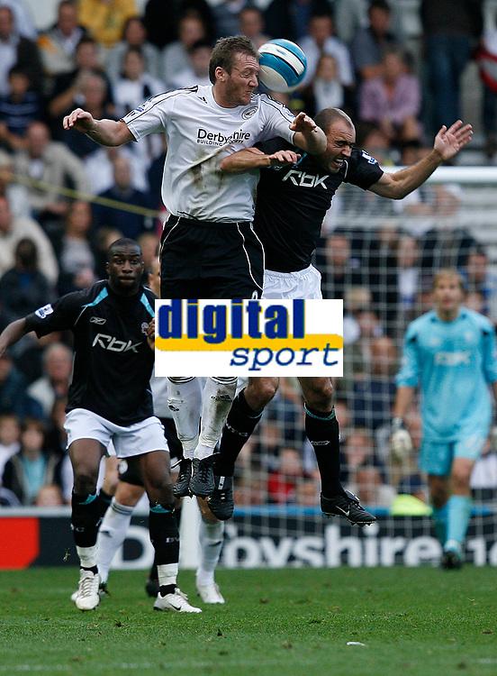 Photo: Steve Bond.<br />Derby County v Bolton Wanderers. The FA Barclays Premiership. 29/09/2007. Steve Howard (white shirt) wins an aerial challange