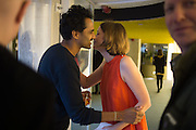 ROHAN SILVA; CHARLOTTE DE BOTTON;, Launch of ' More Human',  Designing a World Where People Come First' by Steve Hilton. Party held at Second Home in Princelet St, off Brick Lane, London. 19 May 2015.