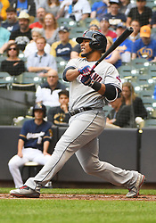 May 8, 2018 - Milwaukee, WI, U.S. - MILWAUKEE, WI - MAY 08: Cleveland Indians Designated hitter Edwin Encarnacion (10) makes contact during a MLB game between the Milwaukee Brewers and Cleveland Indians on May 8, 2018 at Miller Park in Milwaukee, WI. The Brewers defeated the Indians 3-2.(Photo by Nick Wosika/Icon Sportswire) (Credit Image: © Nick Wosika/Icon SMI via ZUMA Press)