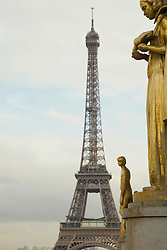 Eiffel Tower and golden statues, Trocadero, Paris, France