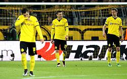Borussia Dortmund players look dejected after conceding a goal - Mandatory by-line: Robbie Stephenson/JMP - 07/04/2016 - FOOTBALL - Signal Iduna Park - Dortmund,  - Borussia Dortmund v Liverpool - UEFA Europa League Quarter Finals First Leg
