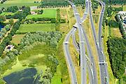 Nederland, Noord-Brabant, Eindhoven, 23-08-2016; Randweg Eindhoven, Knooppunt Ekkersweijer. Verkeersknooppunt van de autosnelweg A2en A50. Half sterknooppunt.<br /> Ekkersweijer junction, near Eindhoven.<br /> <br /> luchtfoto (toeslag op standard tarieven);<br /> aerial photo (additional fee required);<br /> copyright foto/photo Siebe Swart
