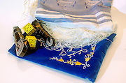 Tifillin, Talith and elaborated decorated Talith bag,
