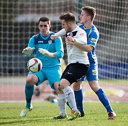 Gretna FC2008's keeper Craig Murray, Edinburgh City's Ross Allum and Gretna FC2008's Dan Wood.<br /> Half time : Edinburgh City 0 v 0 Gretna FC2008, Scottish Sun Lowland League game played at Meadowbank Stadium, 28/3/2015.