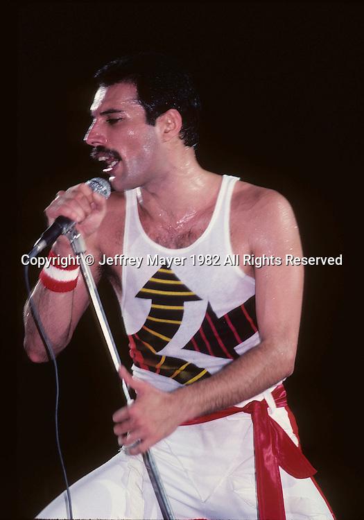 LOS ANGELES, CA - SEPTEMBER 15: Freddie Mercury of Queen in concert at The Forum on September 15, 1982 in Los Angeles, California.