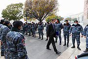 Co-Chair of Minks Group Mr Andrew Schofer of the United States of America, walks through a corridor of Armenian policemen outside the government building in Yerevan, on Monday, Dec 14, 2020.<br /> Turkey has proposed the Minsk Group to hold a special meeting where the three co-chairs, France, Russia and the U.S. would report on what they have done to secure a negotiated settlement to the Nagorno-Karabakh problem.<br /> The Minsk Group, founded in 1994, consists of nine countries. France, Russia and the U.S. as its three permanent co-chairs and Turkey, Italy, Belarus, Germany, Sweden and Finland as members along with Armenia and Azerbaijan. (VXP Photo/ Vudi Xhymshiti)