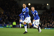 Aaron Lennon of Everton celebrates after scoring his teams 1st goal. Barclays Premier League match, Everton v Newcastle United at Goodison Park in Liverpool on Wednesday 3rd February 2016.<br /> pic by Chris Stading, Andrew Orchard sports photography.