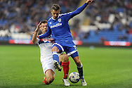 Cardiff City's Joe Bennett (r) is tackled by Wigan's Yanic Wildschut. EFL Skybet championship match, Cardiff city v Wigan Athletic at the Cardiff city stadium in Cardiff, South Wales on Saturday 29th October 2016.<br /> pic by Carl Robertson, Andrew Orchard sports photography.