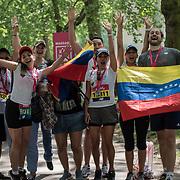 Venezuelan partiplate the Vitality London 10000 running for healing Venezuela charity on 28 May 2018, London, UK.
