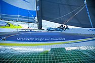 24 hours with French sailor François Gabart onboard his 100ft trimaran MACIF designed by the VPLP design team, this 30-metre wide, 21 metre wide boat has been designed for solo sailing. A light boat (14.5 tonnes) with very fine hulls, Port-la-Forêt, March 2017, Photo Christophe Launay / ProSportsImages / DPPI