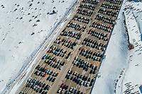 Aerial view of cars parked at parking lot at ski resort at Mount Erymanthos, Greece