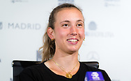 Elise Mertens of Belgium talks to the media after winning her third-round match at the Mutua Madrid Open 2021, Masters 1000 tennis tournament on May 4, 2021 at La Caja Magica in Madrid, Spain - Photo Rob Prange / Spain ProSportsImages / DPPI / ProSportsImages / DPPI