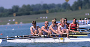 Munich, GERMANY   GBR M4-, Bow, Kieran WEST,  Matthew McQUILLAN, Dave BECKLEY, Rick DUNN and cox Mark HUSSEY 1998 FISA World Cup, Munich Olympic Rowing Course, 29-31 May 1998.  [Mandatory Credit, Peter Spurrier/Intersport-images] 1998 FISA World Cup, Munich, GERMANY