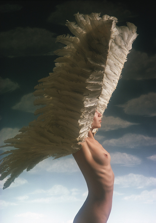 Profile of nude woman wearing wings in front of blue sky and clouds backdrop