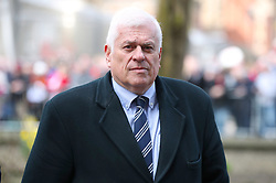 Peter Ridsdale arrives at the funeral service for Gordon Banks at Stoke Minster.