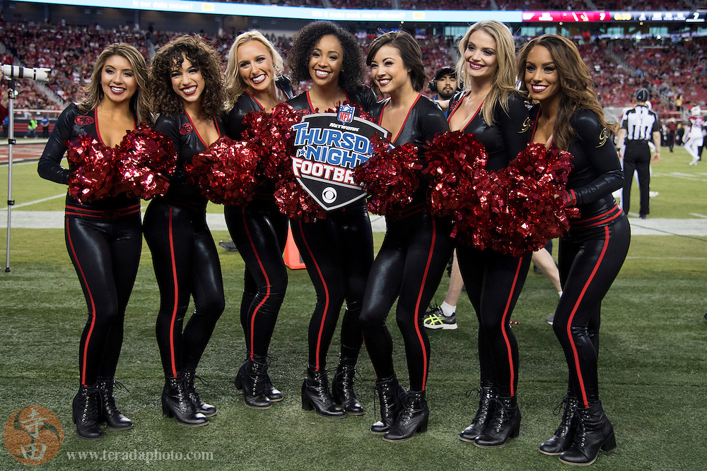 October 6, 2016; Santa Clara, CA, USA; San Francisco 49ers Gold Rush cheerleaders (L-R) Danielle, Natalie K., Shasta, Lynnette, Aleena, Carina, and Cassie during the second quarter against the Arizona Cardinals at Levi's Stadium. The Cardinals defeated the 49ers 33-21.