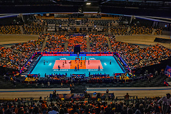 """28-05-2019 NED: Volleyball Nations League Netherlands - Brazil, Apeldoorn<br /> <br /> Full House in Omnisport """"De Voorwaarts"""" Apeldoorn - Team NL boarding"""