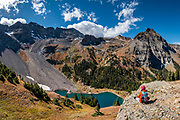 Lower Blue Lake, in Mt Sneffels Wilderness, Uncompahgre National Forest, San Juan Mountains, near Ridgway, Colorado, USA. This image was stitched from multiple overlapping photos.