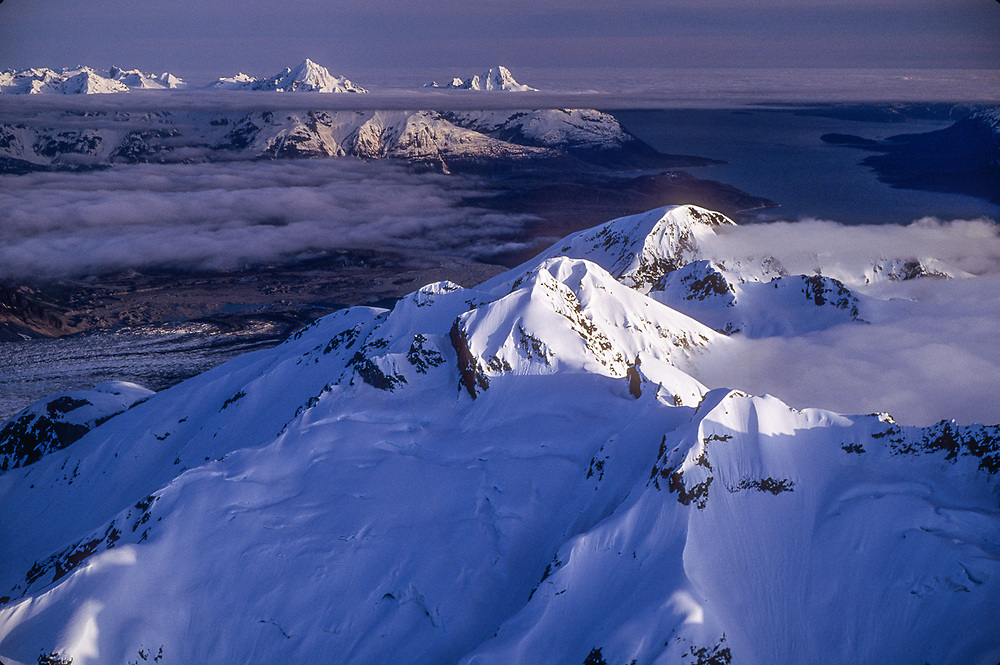 Aerial view of Muir Inlet, summer, Glacier Bay National Park, Alaska, USA
