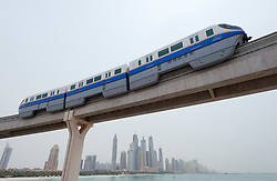 Monorail train to Atlantis hotel complex on Palm Jumeirah in Dubai , United Arab Emirates,UAE