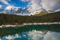 Karersee Lake at the foot of Mount Latemar in the Dolomite Mountains of Northern Italy.
