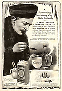 Fridtjof Nansen (1861-1930) Norwegian Arctic explorer making a cup of Cadbury's Cocoa during his expedition on the 'Fram' 1893-1895. Cadbury supplied about 1,500 lbs (680.389 kg) to the expedition. Advertisement from 'The lllustrated London News' (London, 30 Decemebr 1893).