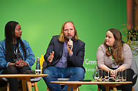 DEU, Deutschland, Germany, Berlin, 24.11.2018: Aminata Touré, Member of Parliament in Schleswig-Holstein, Anton Hofreiter,  Chairman of the Parliamentary Group of Alliance 90 / The Greens in the German Parliament, Ricarda Lang, Spokesperson for Grüne Jugend. Council of the European Green Party (EGP council) at Deutsche Telekom Representative Office.