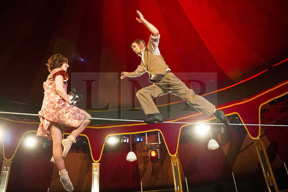 © Licensed to London News Pictures. 09/05/2012. London, UK.Cantina is an electrifying cocktail of vaudeville and circus, as part of Priceless London Wonderground. Presented by the London Southbank Centre from 8th May - 30th September 2012. Picture shows Chelsea Mcguffin & Daniel Catlow. Photo credit : Tony Nandi/LNP