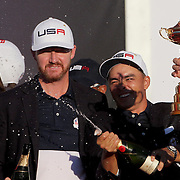 Ryder Cup 2016. Day Three. Rickie Fowler celebrates as he sprays champagne after the United States victory in the Ryder Cup tournament at Hazeltine National Golf Club on October 02, 2016 in Chaska, Minnesota.  (Photo by Tim Clayton/Corbis via Getty Images)