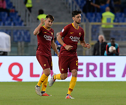 September 26, 2018 - Rome, Italy - Cengiz Under celebrates with Javier Pastore after scoring goal 1-0 during the Italian Serie A football match between A.S. Roma and Frosinone at the Olympic Stadium in Rome, on september 26, 2018. (Credit Image: © Silvia Lore/NurPhoto/ZUMA Press)