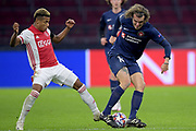 David Neres of Ajax, Alexander Scholz of FC Midtjylland during the UEFA Champions League, Group D football match between Ajax and Midtjylland on november 25, 2020 at Johan Cruijff Arena in Amsterdam, Netherlands - Photo Gerrit van Keulen / Orange Pictures / ProSportsImages / DPPI
