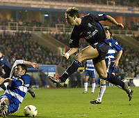 Picture: Henry Browne.<br />Date: 03/12/2003.<br />Chelsea v Reading Carling Cup 4th Round.<br />Frank Lampard of Chelsea has his shot blocked by Reading's  Graeme Murty