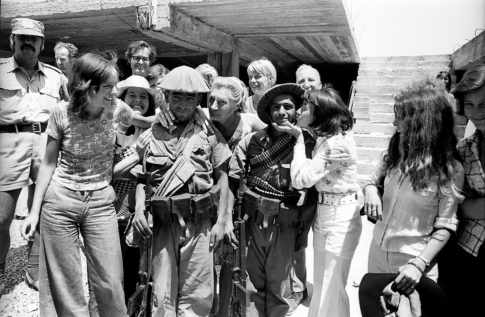 Cyprus War 20 July–18 August 1974. Turkish invasion of Cyprus code-name by Turkey, Operation Attila. British and German tourists greet Turkish soldiers in the northern Cyprus town of Kyrenia shortly after the invasion July 1974. Photo by Terry Fincher.
