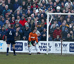 Queen's Alex Burke scores over Darren Hill for the 1st goal.<br /><br />Falkirk 0 v 2 Queen of the South.<br />13/03/2004 ©Michael Schofield.<br /><br />©Michael Schofield...No unauthorised syndication on behalf of copyright owner. Pictures licensed for single use only. This Caption and credit details must remain attached to file at all time. Queen;s