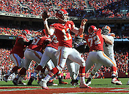 KANSAS CITY, MO - OCTOBER 27:  Quarterback Alex Smith #11 of the Kansas City Chiefs drops back to pass against the Cleveland Browns during the second half on October 27, 2013 at Arrowhead Stadium in Kansas City, Missouri.  (Photo by Peter G. Aiken/Getty Images) *** Local Caption *** Alex Smith