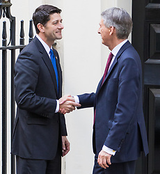 Downing Street, London, April 19th 2017. Chancellor Philip Hammond welcomes Speaker of the House of Representatives of the United States Paul Ryan and his delegation to his official residence at 11 Downing Street in London<br /> .