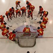 The Chinese team prepare to start the game during the China V Iceland match during the 2012 IIHF Ice Hockey World Championships Division 3 held at Dunedin Ice Stadium. Dunedin, Otago, New Zealand. 22nd January 2012. Photo Tim Clayton