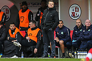 Forest Green Rovers manager, Mark Cooper during the EFL Sky Bet League 2 match between Crawley Town and Forest Green Rovers at The People's Pension Stadium, Crawley, England on 6 April 2019.