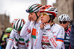 Alena Amialiusik checks her radio before the start in Ieper - Women's Gent Wevelgem 2016, a 115km UCI Women's WorldTour road race from Ieper to Wevelgem, on March 27th, 2016 in Flanders, Netherlands.