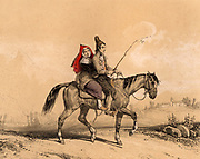 Man and woman from the Luz  valley, French Pyrenees, riding a horse home at the end of the day.  Tinted lithograph from 'Nouvelles Suite de Costumes des Pyrenees' (Paris, c1840).