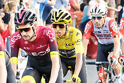 July 28, 2019, Paris, France: Colombia's Egan Bernal with the leader's yellow jersey during the 21st and last stage of the 106th edition of the Tour de France cycling race between Rambouillet and Paris Champs-Elysees with his teammate of the team INEOS and Caled Ewans behind - July 28, 2019, Paris. (Credit Image: © Daniel Pier/NurPhoto via ZUMA Press)
