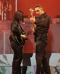Romy Madley Croft and Oliver Sim of The xx performing on the Pyramid Stage, at the Glastonbury Festival at Worthy Farm in Pilton, Somerset.
