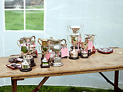 The trophy table at Farndale Show on 28th August 2017 in North Yorkshire, United Kingdom. Farndale Show is a small traditional agricultural show in the heart of the North York Moors
